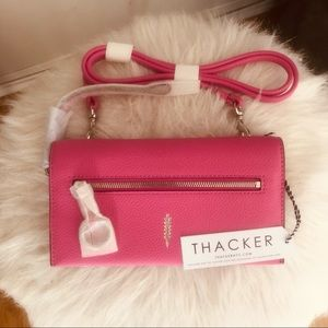 Thacker Eve Leather Crossbody Wallet Bag, Pink NWT